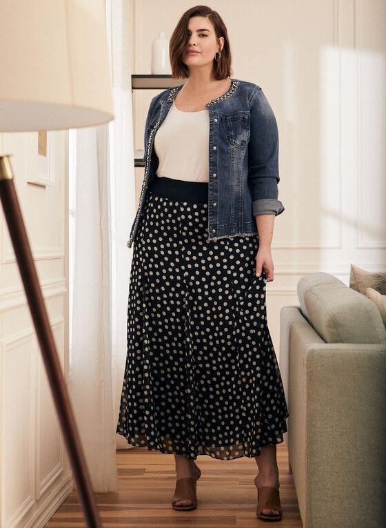 Dotted Print Maxi Skirt, Blue