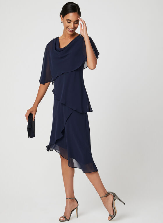 Asymmetric Tiered Chiffon Dress, Blue, hi-res