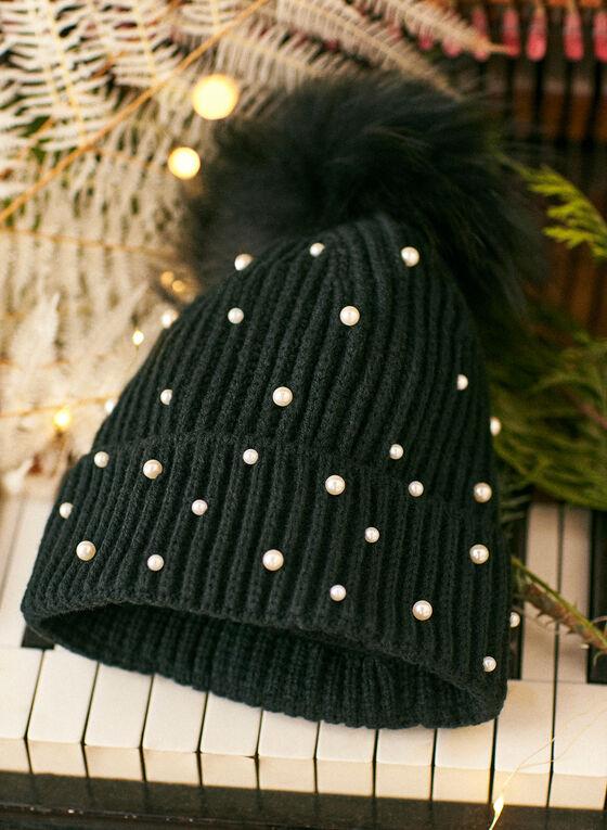 Removable Pom Pom Pearl Detail Hat, Black