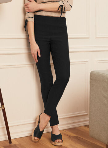 Slim Leg Pull-On Pants, Black,  slim leg, pull on, pull-on, elastic waist, bengaline, comfort, stretchy, made in Canada, spring summer 2021