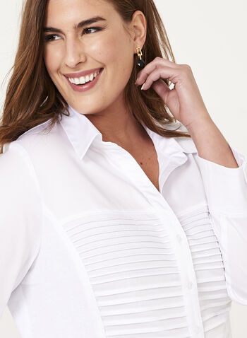 Ribbed Button Down Shirt , White, hi-res