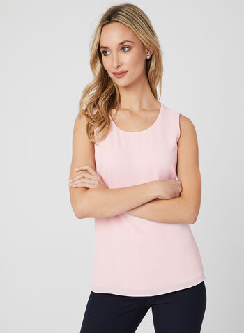 Sleeveless Scoop Neck Blouse, Pink, hi-res