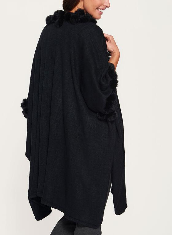 Fur PomPom Trim Ruana Poncho, Black, hi-res