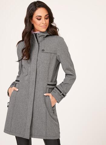 Manteau à coquille souple doublé polaire , Gris, hi-res