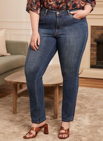 Blossom - Jeans à jambe droite , Bleu,  jeans, pantalon, jambe droite, blossom, denim, extensible, poches, ceinture, printemps été 2021