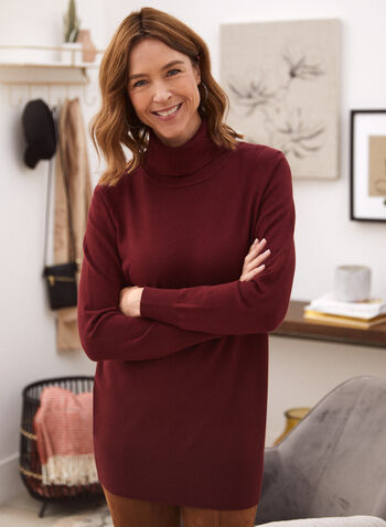 Long Sleeve Turtleneck Top, Red,  fall 2021, turtleneck, hem, ribbed, top, tunic, sweater, shirt, long sleeves, knit, fabric, material, comfortable, length, long