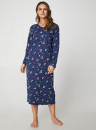Hamilton - Floral & Polka Dot Print Cotton Nightgown, Blue