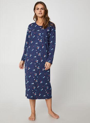 Hamilton - Floral & Polka Dot Print Cotton Nightgown, Blue,  nightgown, flower, polka dot, long sleeves, cotton, fall winter 2019