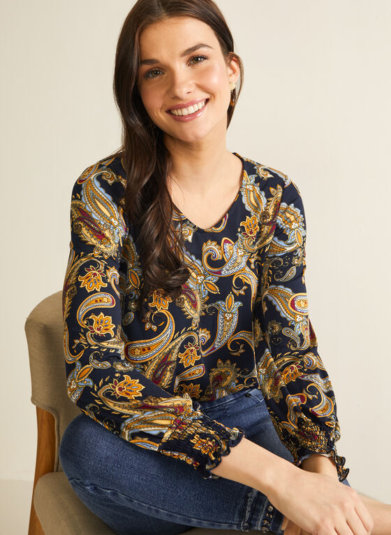 3/4 Sleeve Paisley Print Top, Blue