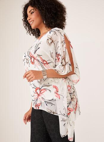 Floral Print Asymmetric Poncho Blouse, White, hi-res
