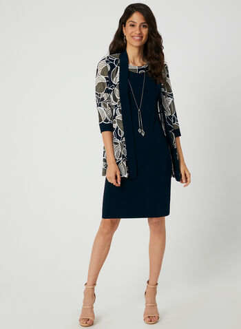 Jersey Dress With Jacket, Blue, hi-res,  cocktail dress, two-piece, jersey, leaf print, sleeves, fall 2019, winter 2019