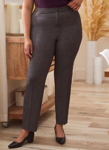 Pantalon coupe signature à jambe droite, Gris,  pantalon, signature, droit, poches, zip, pinces, automne hiver 2020
