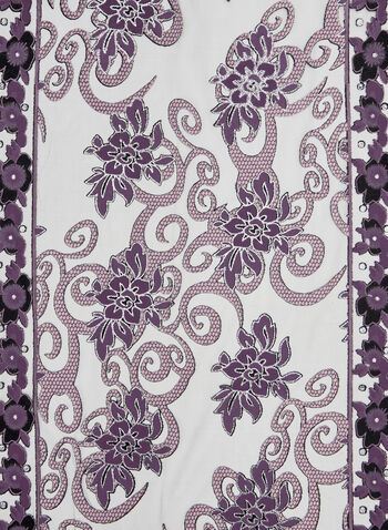Crystal Embellished Floral Print Scarf, Purple, hi-res