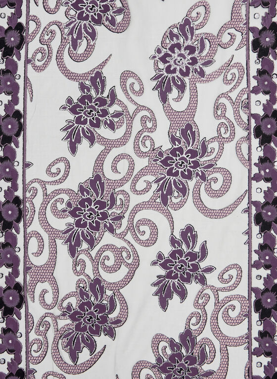 Crystal Embellished Floral Print Scarf, Purple, hi-res