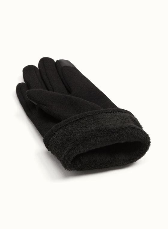 Cotton Blend Butterfly Appliqué Gloves, Black, hi-res