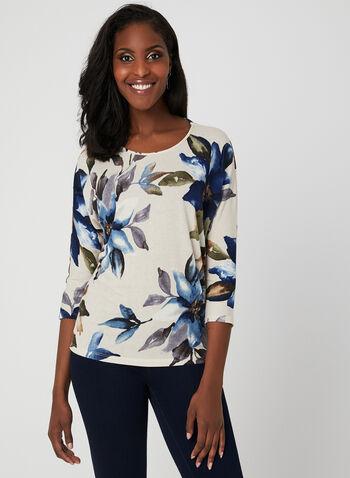 Floral Print Dolman Sleeve Top, White, hi-res