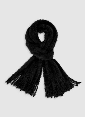 Fringed Scarf, Black,  scarf, fringes, fall 2019, winter 2019
