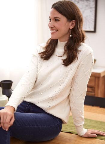 Pull en tricot à détails perlés, Blanc cassé,  pull, tricot, haut, col cheminée, manches longues, perles, maille torsadée, automne hiver 2021