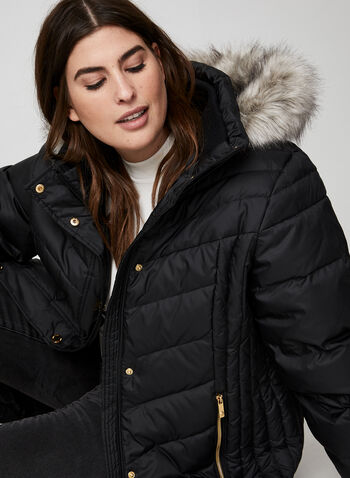 Anne Klein - Faux Fur Down Coat, Black, hi-res,  coat, winter coat, long coat, down coat, down, faux fur, faux fur coat, fall 2019, winter 2019