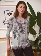 Floral Print Sweater, Grey