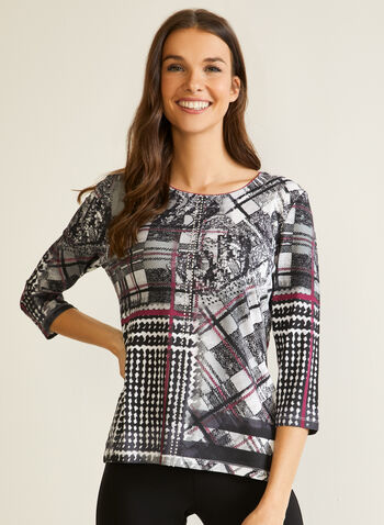 Abstract Print ¾ Sleeve Top, Grey,  fall winter 2020, top, 3/4 sleeves, abstract print, studded details, round neck