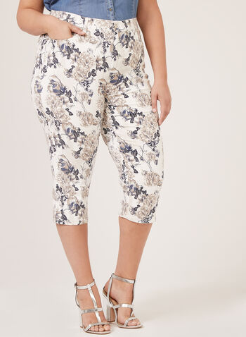 Simon Chang - Floral Print Signature Fit Capris, White, hi-res