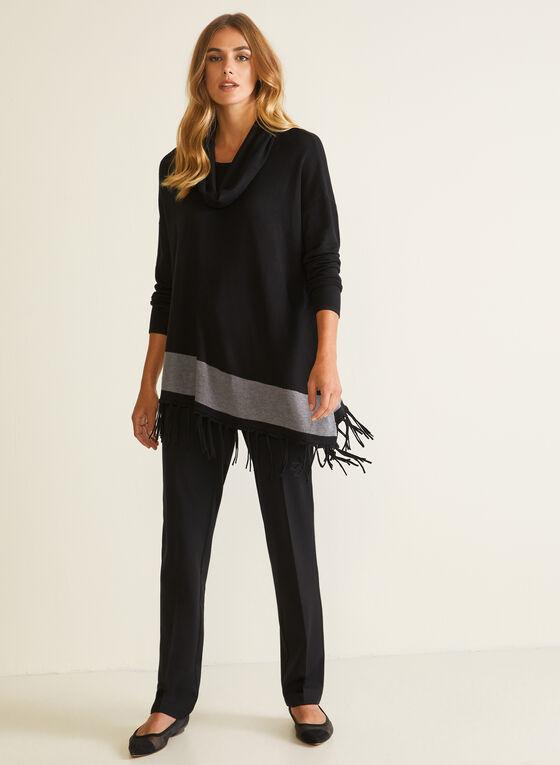 Asymmetric Cowl Neck Sweater, Black