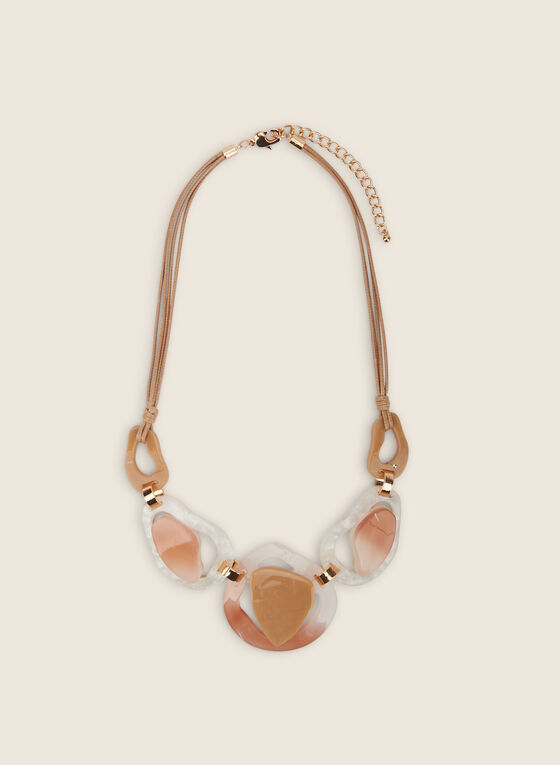 Mixed Lucite Cord Necklace, Brown