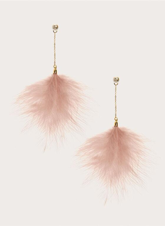 Boucles d'oreilles à pendants plumes, Blanc cassé, hi-res