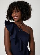 One Shoulder Ruffle Dress, Blue, hi-res