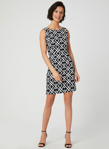 Geometric Print Sleeveless Dress, Black, hi-res