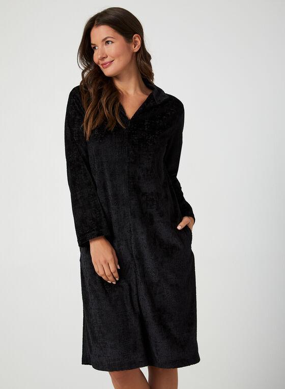 Hamilton - Velour Nightgown, Black, hi-res