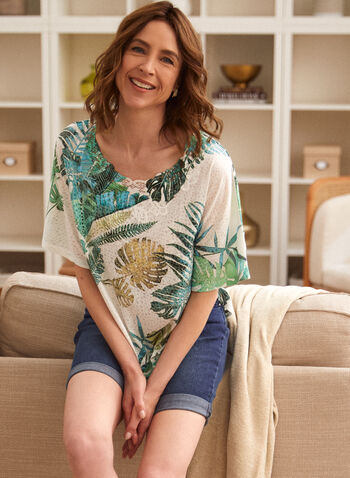 Leaf Print Tee, Green,  spring summer 2021, tops, crew neck, scoop neck, boat neck, short sleeves, tropical print, plant print, lace