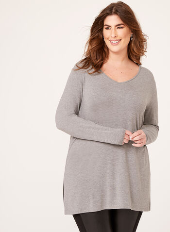 Long Sleeve V-Neck Knit Top, Grey, hi-res