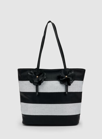 Stripe Print Tote Bag, Black, hi-res