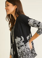 Paisley Print Open Front Top, Black