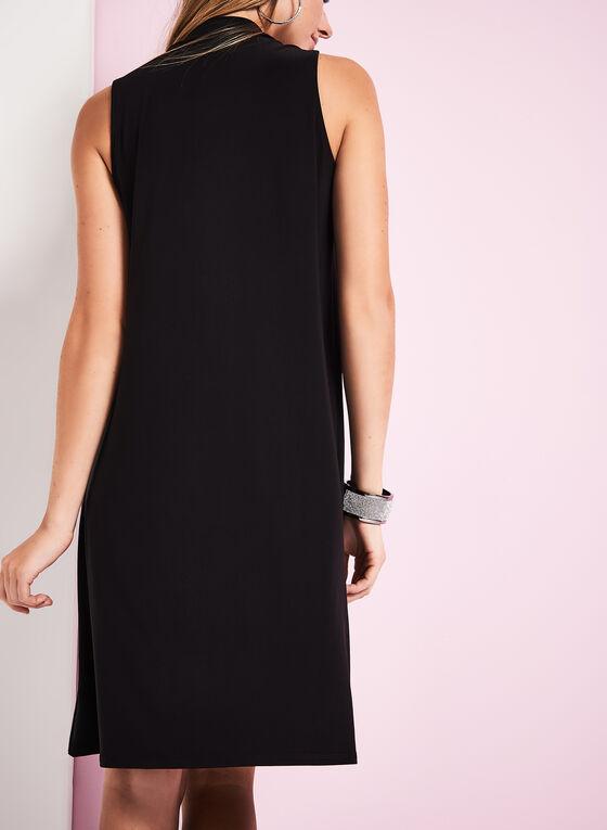 Mock Neck Trapeze Dress, Black, hi-res