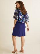 Robe poncho à motif floral, Bleu