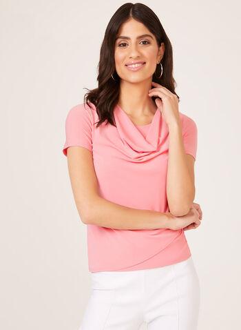Drape Neck Jersey Top, Pink, hi-res