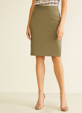 Zip Closure Straight Skirt, Green,  skirt, straight, stretchy, cotton, spring summer 2020