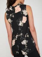Floral Print Cowl Neck Top, Black, hi-res