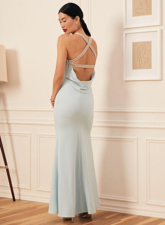 Rhinestone Detail Apron Neck Gown, Blue