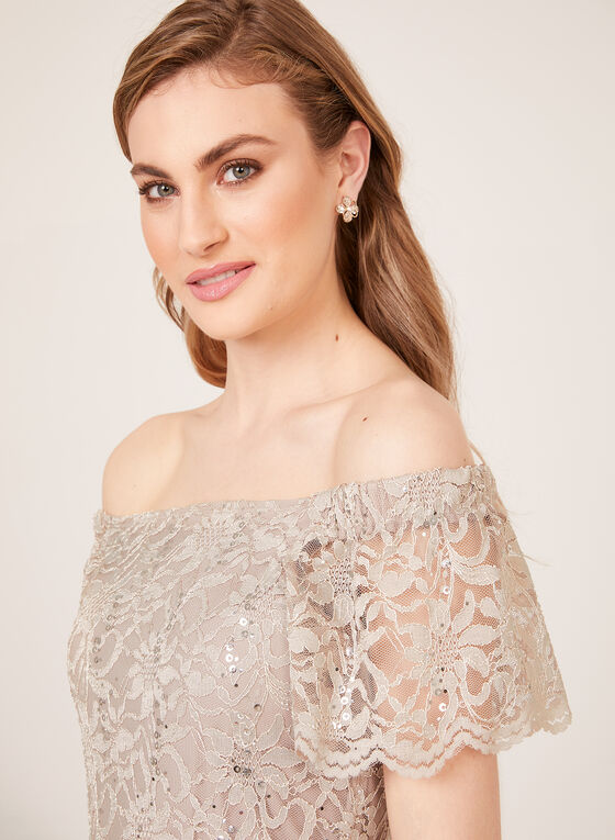 Sequin Lace Off The Shoulder Dress, Off White, hi-res