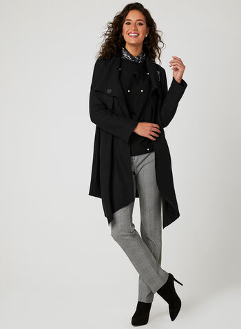 Asymmetrical Wool Coat, Black, hi-res