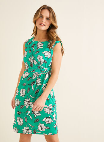 Floral Print Buckle Detail Dress, Green,  day dress, cap sleeves, floral print, buckle, jersey, spring summer 2020