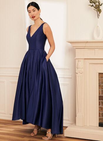 Satin High Low Ball Gown, Blue,  prom dress, ball gown, v-neck, sleeveless, high low, satin, pockets, crinoline, spring summer 2021