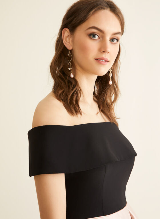 Off-The-Shoulder Flare Dress, Black