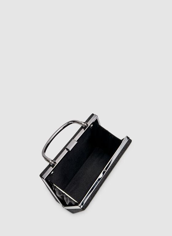 Pochette carré pailletée à anse métallisée, Gris, hi-res