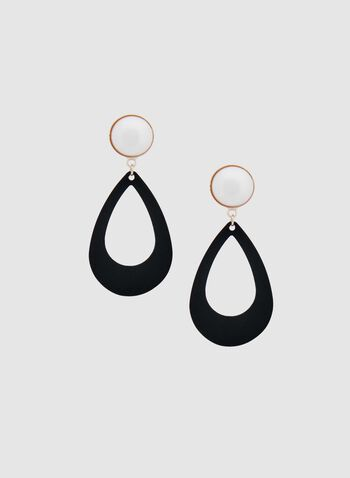 Teardrop Dangle Earrings, Black, hi-res
