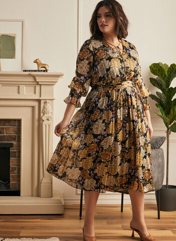 Floral Print Fit & Flare Dress, Black,  dress, day, floral, fit flare, chiffon, pleated, v-neck, tie, 3/4 sleeves